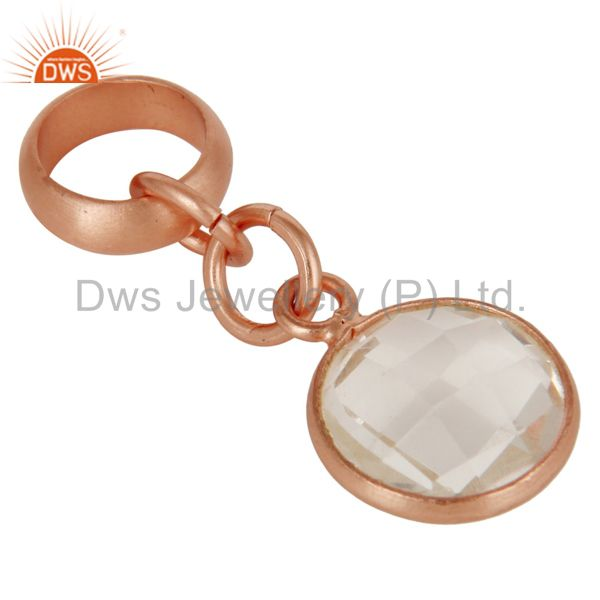 Exporter 18k Rose Gold Plated Sterling Silver Fine Setting Crystal Pendent Finding