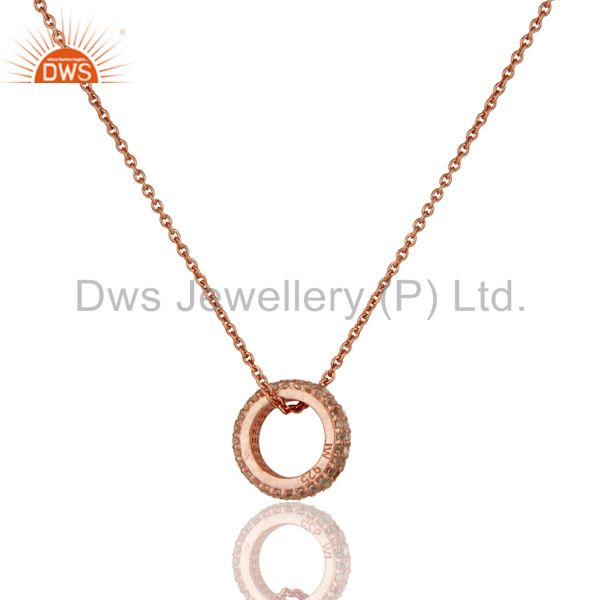 Exporter 18k Rose Gold Plated Sterling Silver Fashion Charming White Topaz Chain Pendant