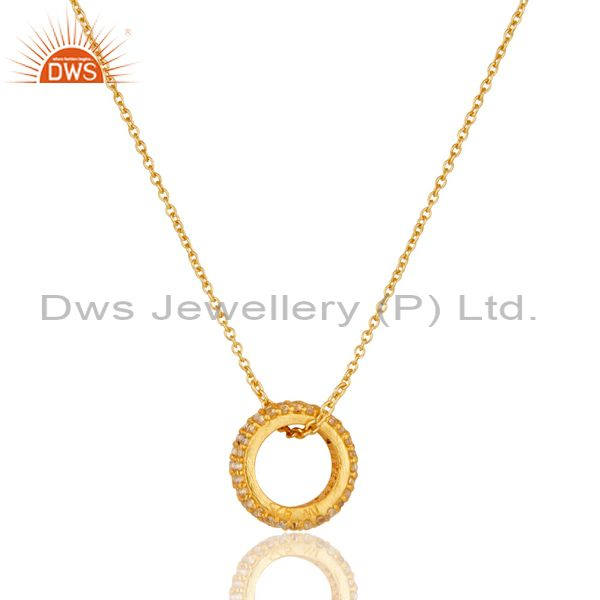 Exporter 18k Yellow Gold Plated Sterling Silver Fashion White Topaz Chain Pendant
