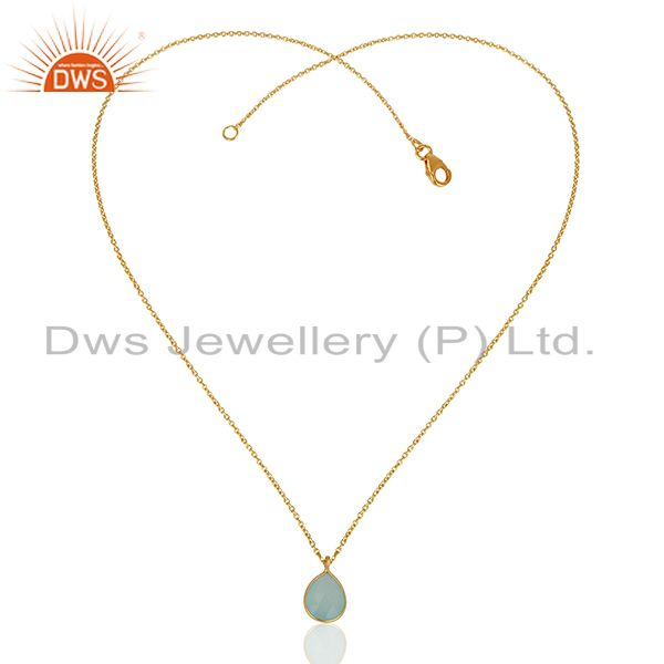 Exporter Aqua Chalcedony Gemstone Gold Plated 925 Silver Chain Pendant Jewelry