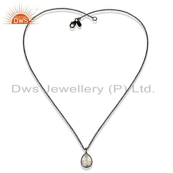 Exporter Black Oxidized 925 Sterling Silver Crystal Quartz Bezel Set Chain Pendant