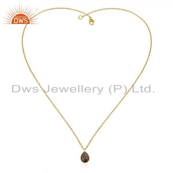 Exporter Gold Plated 925 Silver Labradorite Gemstone Simple Pendant Jewelry Manufacturers