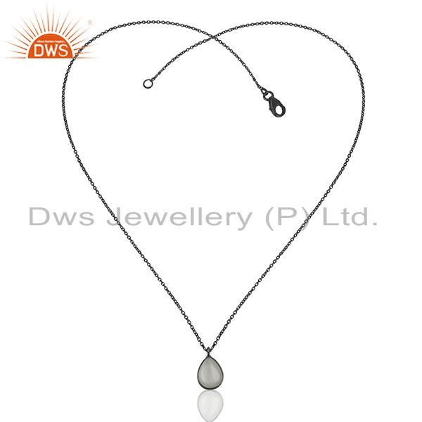 Exporter Black 925 Sterling Silver Moonstone Pendant Wholesale Suppliers
