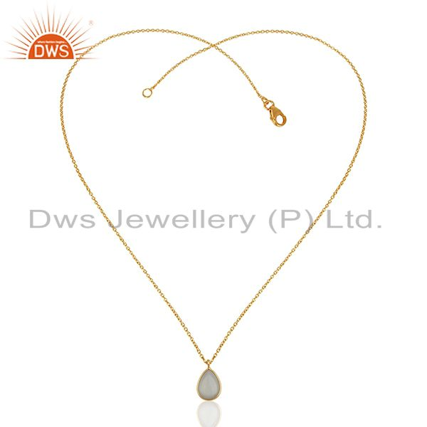Exporter Gold Plated 925 Silver Moonstone Chain Pendant Jewelry Manufacturers