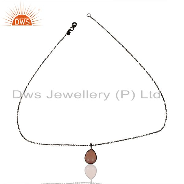 Exporter Rose Chalcedony Drop Chain Oxodized 92.5 Sterling Silver Pendant