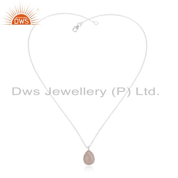 Exporter Rose Chalcedony Gemstone 925 Silver Chain Pendant Manufacturers