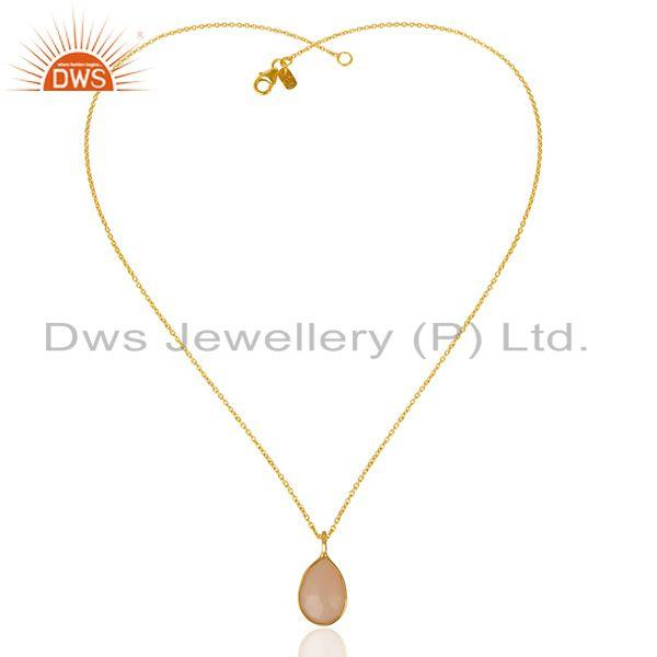 Exporter Rose Chalcedony Drop Chain 14K Gold Plated 92.5 Sterling Silver Pendant