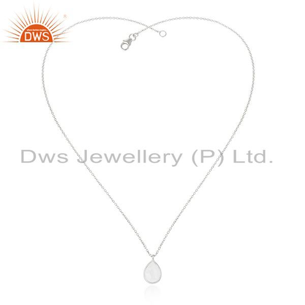 Exporter Rainbow Moonstone 925 Sterling Fine Silver Chain Pendant Manufacturer of Pendant