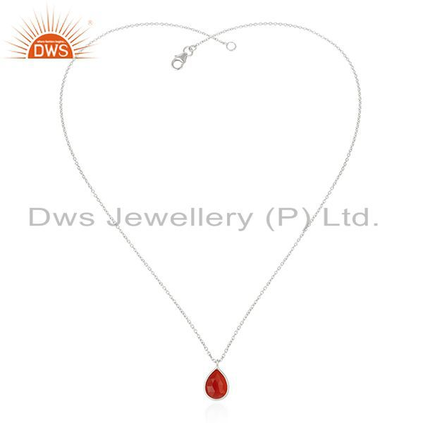 Exporter Handmade 92.5 Sterling Fine Silver Chain Red Onyx Gemstone Pendant Wholesale