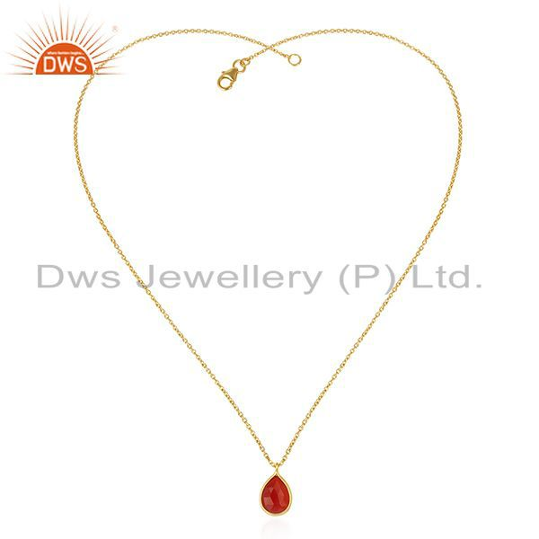 Exporter Red Onyx Gemstone Gold Plated 925 Sterling Silver Chain Pendant Manufacturers