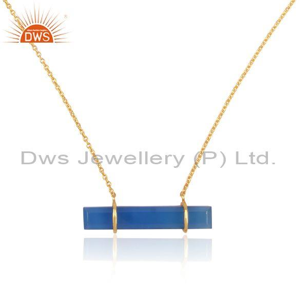 Rectangular blue chalcedony pendant and gold on silver chain