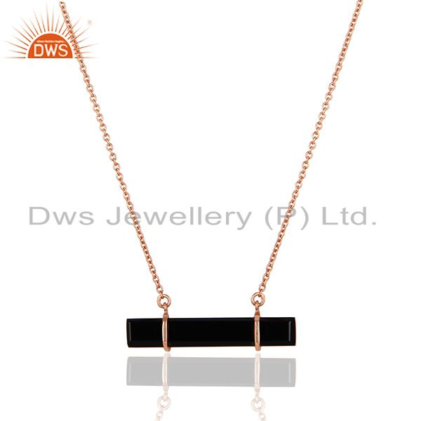Exporter 18K Rose Gold Plated 925 Sterling Silver Flat Black Onyx Chain Pendant Necklace