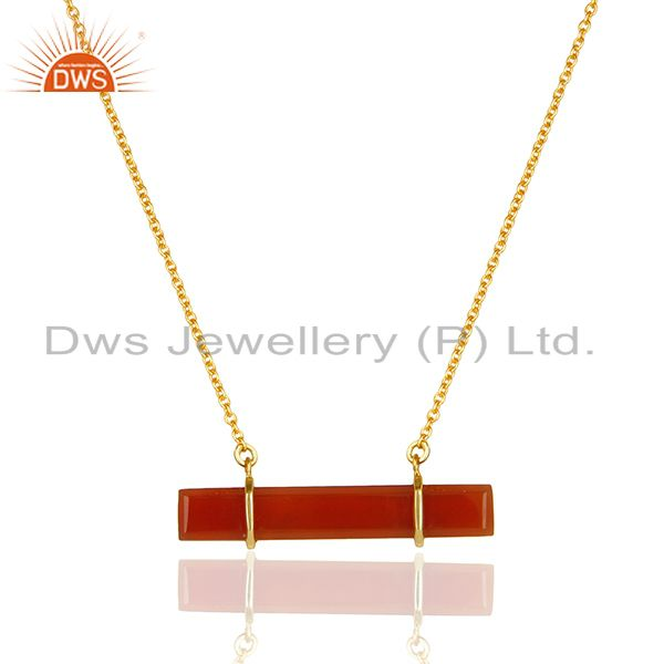 Exporter Red Onyx Faceted Cut Long Beguette Gold Plated Sterling Silver Pendent