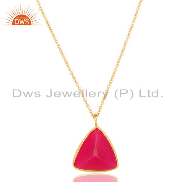 Exporter 18K Yellow Gold Plated Sterling Silver Dyed Chalcedony Chain Pendant Necklace