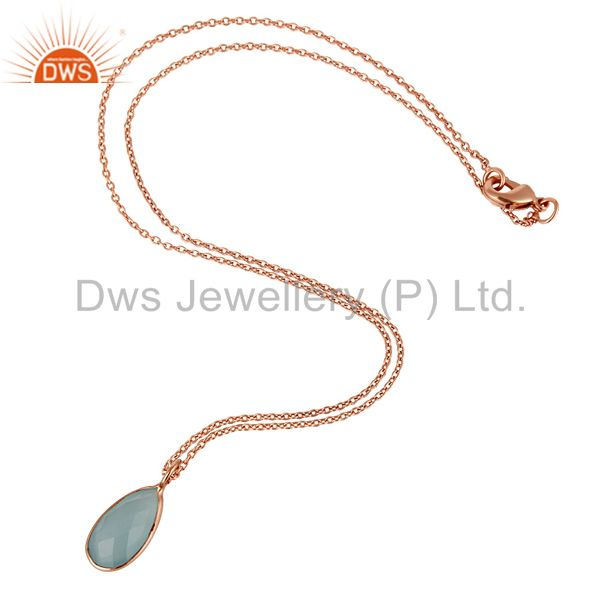 Suppliers Blue Auqa Glass Gemstone Pendant Jewelry With 18k Rose Gold GP Chain Necklace