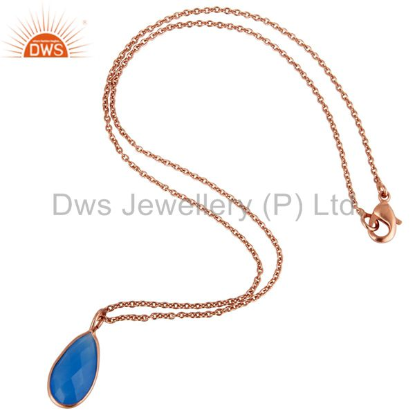Suppliers 18K Rose Gold Plated Blue Chalcedony Bezel Set Drop Pendant With 16