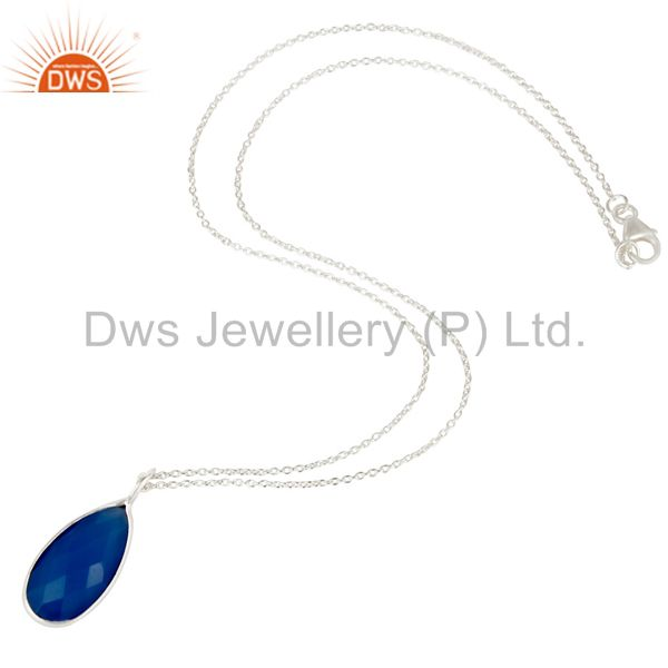Suppliers Solid Silver Plated Blue Chalcedony Bezel Set Drop Pendant With 16
