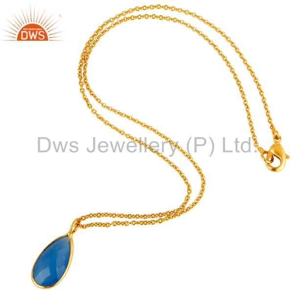 Suppliers 18K Yellow Gold Plated Sterling Silver Blue Chalcedony Bezel Drop Pendant Chain