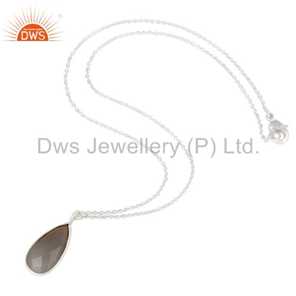 Suppliers Solid Silver Plated Handmade Dyed Chalcedony Bezel Set Chain Pendant Necklace