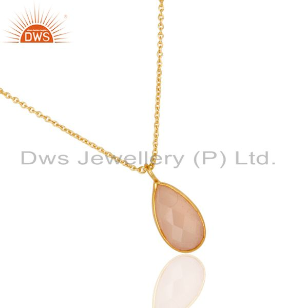 Suppliers 18K Yellow Gold Plated Dyed Chalcedony Gemstone Bezel Set Chain Pendant Jewelery