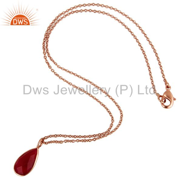 Suppliers 18K Rose Gold Plated Pink Chalcedony Bezel Set Drop Pendant With Chain
