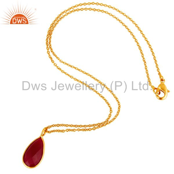 Suppliers 18K Yellow Gold Plated Pink Chalcedony Bezel Set Drop Pendant With Chain