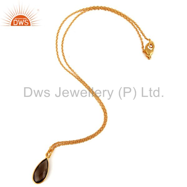 Exporter Natural Smoky Quartz Faceted Pendant Necklace In 18K Yellow Gold Over Brass