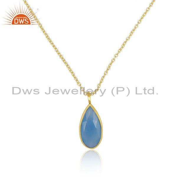 Pear cut blue chalcedony pendant and gold on silver chain