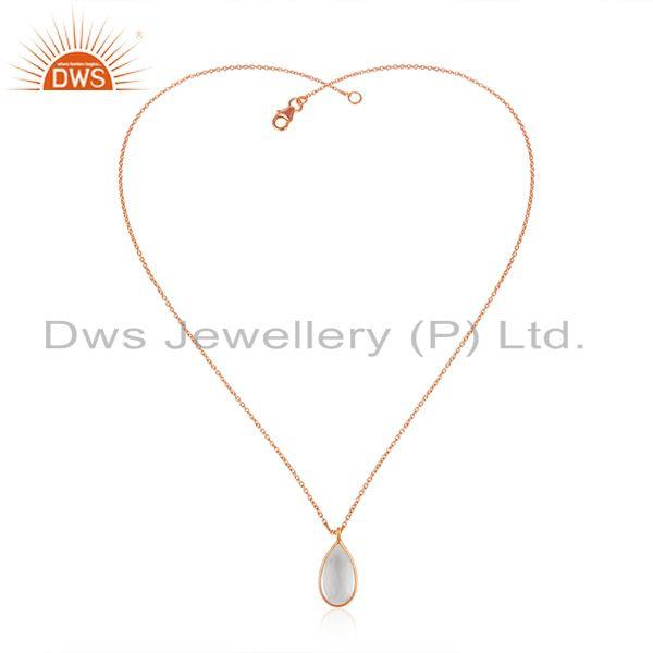 Exporter Crystal Quartz Rose Gold Plated 925 Silver Chain Pendant Manufacturer India
