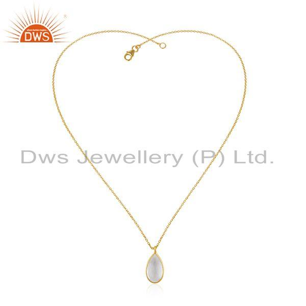 Exporter Gold Plated 925 Silver Crystal Quartz Gemstone Pendant Wholesaler India