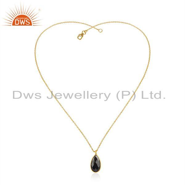 Exporter Hematite Gemstone Yellow Gold Plated 925 Silver Chain Pendant Wholesale