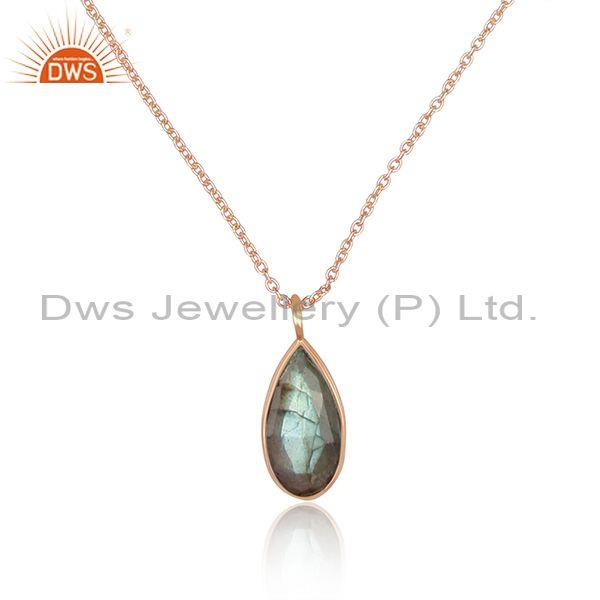 Pear cut labradorite pendant and rose gold on silver chain