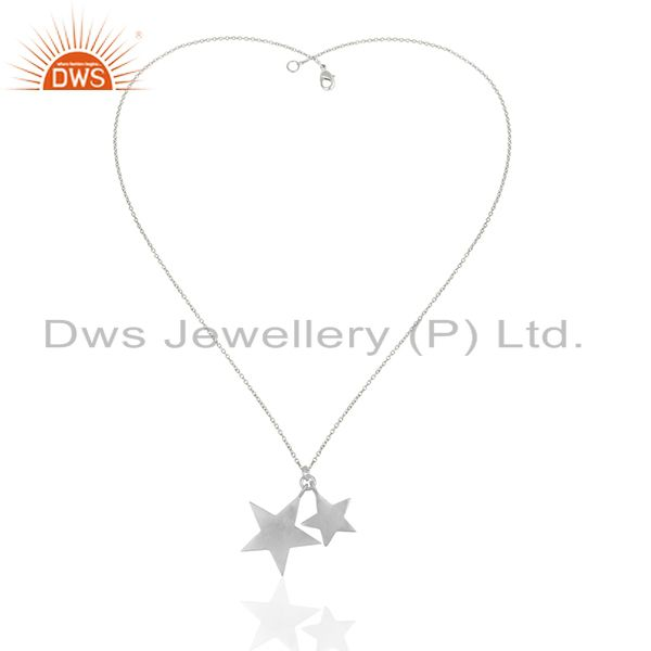 Exporter 925 Solid Sterling Silver Star Design Charm Pendant With Chain