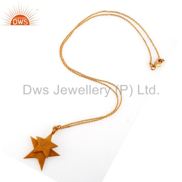 Exporter 18K Yellow Gold Plated Sterling Silver Star Charms Pendant With Chain