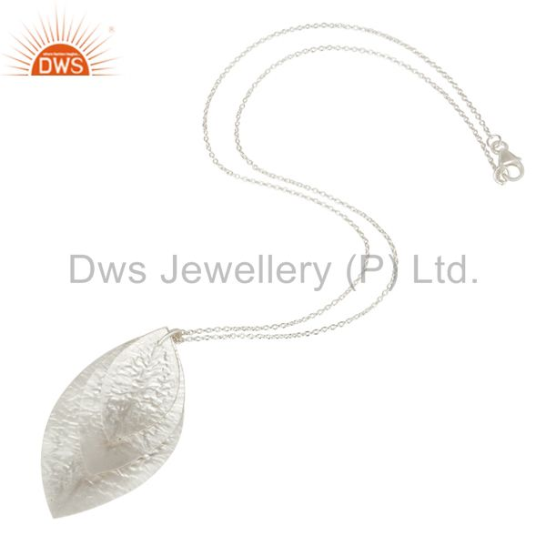 Suppliers Handcrafted Solid 925 Sterling Silver Three Petal Pendant With Chain Necklace