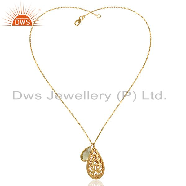 Exporter 22K Gold Plated Sterling Silver Lemon Topaz Charms Filigree Pendant With Chain