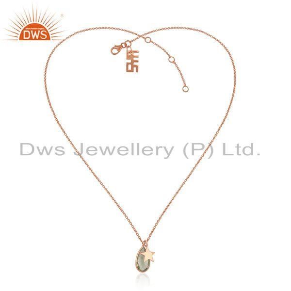 Exporter Rose Gold Plated Silver Lemon Topaz Gemstone Pendant Jewelry