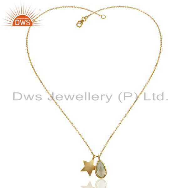 Exporter 18K Gold Plated Sterling Silver Star Charm And Lemon Topaz Pendant With Chain