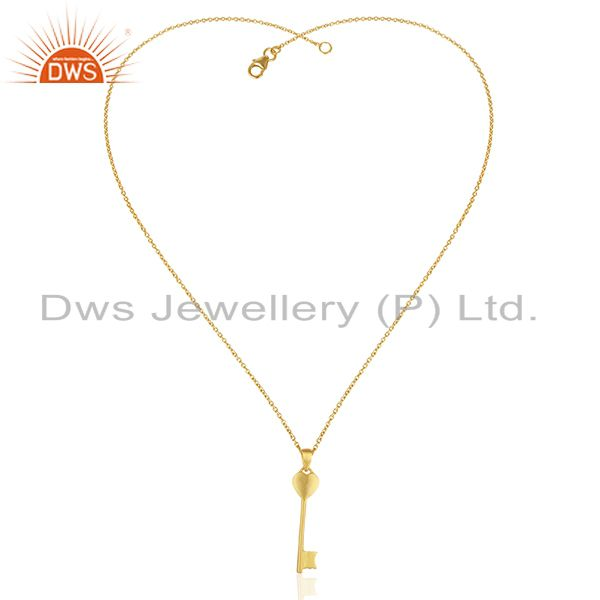 Exporter 14K Yellow Gold Plated Sterling Silver Heart Key Charm Pendant