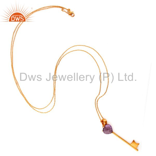 Exporter 18K Yellow Gold Plated Sterling Silver Amethyst Heart Key Charm Pendant Necklace