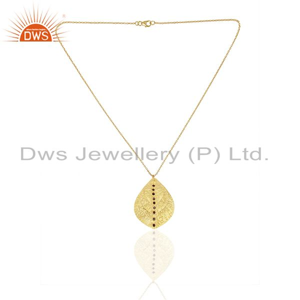 Exporter 24K Yellow Gold Plated Sterling Silver Smoky Quartz Triple Petals Pendant Chain
