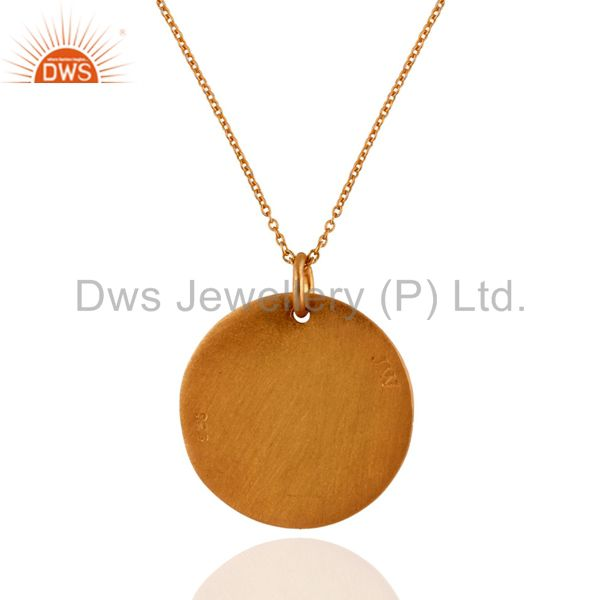 Suppliers 18K Yellow Gold Plated Sterling Silver Disc Design Pendant With Chain