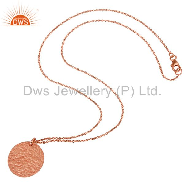 Wholesalers 18K Rose Gold Plated Sterling Silver Hammered Coin Charms Pendant With Chain