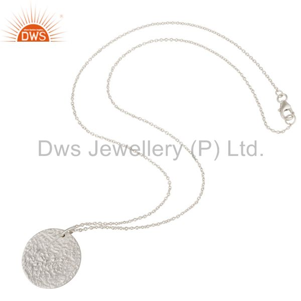 Wholesalers Handmade Solid Sterling Silver Hammered Coin Charms Pendant With Chain