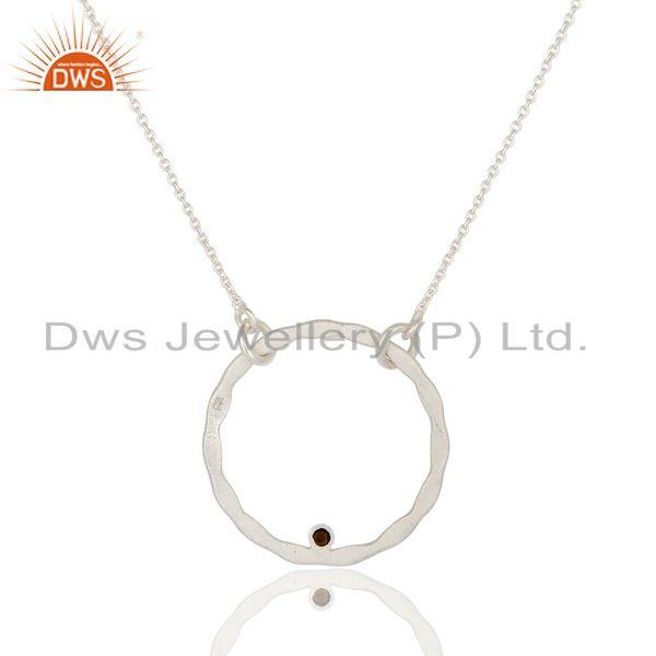 Exporter Solid Sterling Silver Smokey Quartz Open Hammered Circle Pendant With Chain