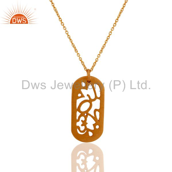 Wholesalers 18-Carat Yellow Gold Plated Sterling Silver Handmade Designer Pendant With Chain