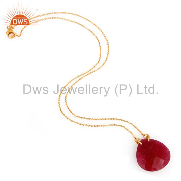 Exporter 18K Yellow Gold Plated Sterling Silver Dyed Ruby Corundum Drop Pendant