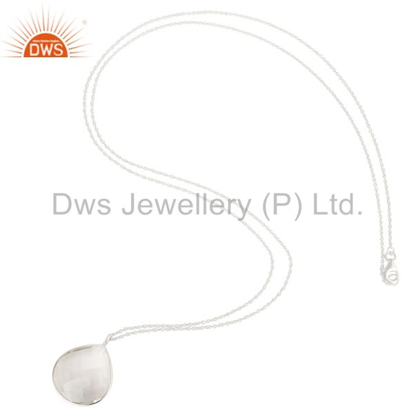 Suppliers Solid 925 Silver Plated Crystal Quartz Bezel Set Chain Pendant Necklace Jewelery