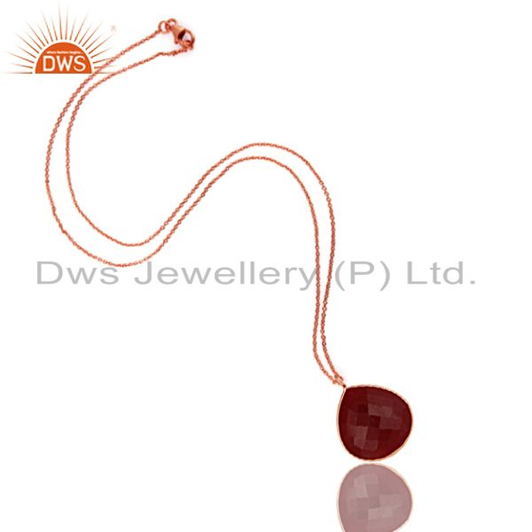 Exporter 18K Rose Gold Plated Sterling Silver Dyed Ruby Bezel Set Drop Pendant With Chain