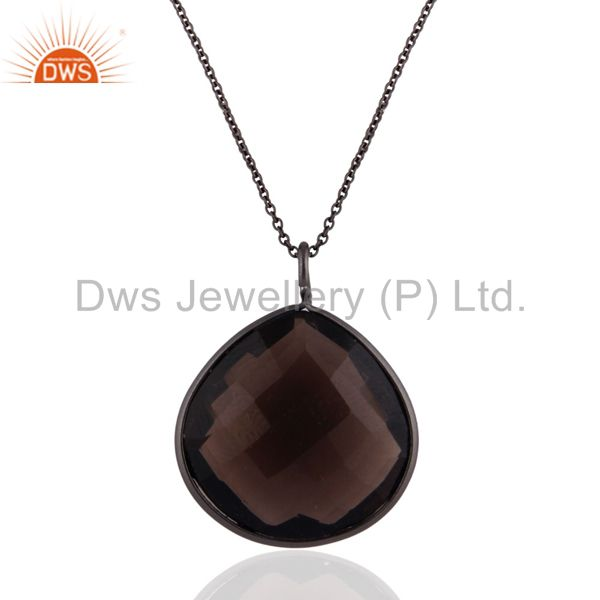 Exporter Black Rhodium Plated Sterling Silver Natural Smoky Quartz Drop Pendant With Chai